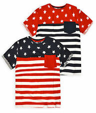 Boys Stars And Stripes Short Sleeved Print T Shirt Kids Tops New Ages 7-13 Years