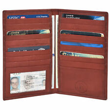 New Men's Premium Leather Bifold Credit Card Holder ID Window with Box