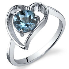 Heart 1.00 cts London Blue Topaz Solitaire Ring Sterling Silver Sizes 5 to 9