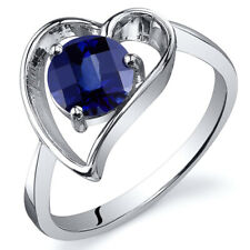 Heart Shape 1.25 cts Blue Sapphire Solitaire Ring Sterling Silver Sizes 5 to 9