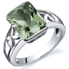 Radiant Cut 2.75 cts Green Amethyst Solitaire Ring Sterling Silver Sizes 5 to 9