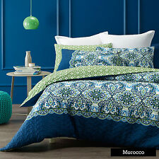 Phase 2 Morocco Blue Green White Quilted Quilt Doona Cover Set DOUBLE QUEEN KING