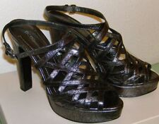 """BCBG Shoes Size 8,  8.5, 10 Med Parker Pewter Metallic 5"""" Strappy Heels Leather"""