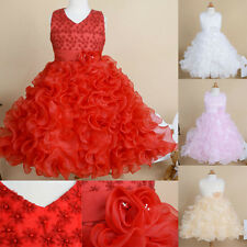 Girls Baby Princess Party Flower Party Evening Wedding Prom Layered Tutu Dresses