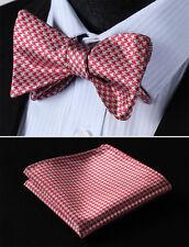 BG102R Red Gray Houndstooth Bowtie Silk Men Self Bow Tie Pocket Square Set
