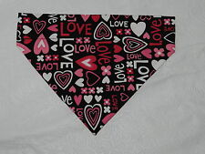 DOG CAT FERRET REVERSIBLE Over Collar Bandana~Valentines Sweet Heart Romantic