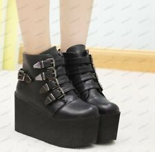 Womens Wedges High Platform Motorcycle Buckle Strap Gothic Rock Punk Shoes Boots