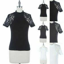 Floral Lace Inset Short Sleeve High Mock Neck Top Casual Cotton Fitted S M L