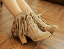 womens tassels lace up round toe high chunky heel warm ankle boots shoes size