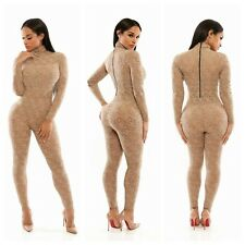 New Sexy Women Lace Floral Long Sleeve Bodysuit Bodycon Rompers Jumpsuit Outfits