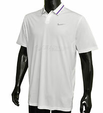 New Nike Golf Mens Tiger Woods Collection Dri-FIT Polo Shirt - White & Purple