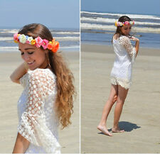 Sexy Hippie Boho Bell Sleeves Lace Mini AU 8-14 Dress Tops Gypsy Festival Fringe