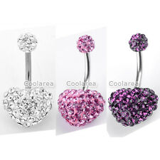 1x Stainless Steel Czech Crystal Heart 14G Belly Navel Ring Button Body Piercing