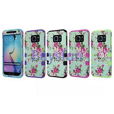Flower Rugged Light Blue Rubber Hard Cover Case For Samsung Galaxy S6 Edge