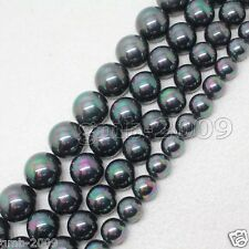 """8mm 10mm 12mm Black Multicolor South Sea Shell Pearl Round Loose Beads 15""""AAA"""