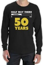 Half Way There 50 Years Funny 50th Birthday Gift Idea Long Sleeve T-Shirt 100