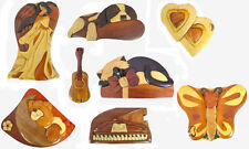 Wood Intarsia Puzzle Box, Angel, Dog, Cat, Piano, Bear, Saxophone, PZB01-12