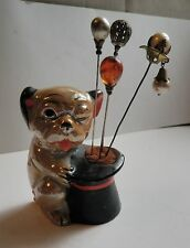 VINTAGE PORCELIAN DOG & TOP HAT PIN CUSHION WITH STICK PINS HATPINS LOT