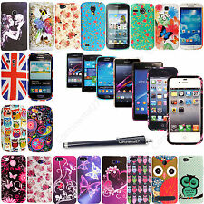 Printed Silicone Gel Rubber Case Cover For Various Phones+ Screen Guard & Stylus