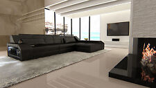 Modern Sectional Sofa AREZZO L-Shaped with LED Lights black black