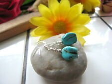 TURQUOISE earrings Natural gemstone nugget beads Sterling Silver plated hooks
