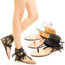 Thong Open Toe T Strap Fringe Cuff Ankle Cork Low Flat Lug Sole Gladiator Sandal