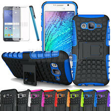 Rugged Hybrid Shockproof Armor Hard Case Cover For Samsung Galaxy J1 + Protector
