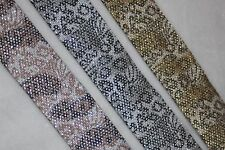 "2 yards Metallic gold Leopard Animal print woven jacquard ribbon 1.25"" wide"