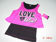 NWT Danskin Girls Layered Tank Sport Love 2 Win Hot Pink Black Pink Mesh Black T