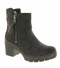 New Womens CAT Caterpillar Batten Boston Brown Leather Heeled Zip Up Ankle Boots