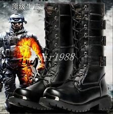 New Men's Punk Warm PU Leather Fur Lined Lace Up Military Army Boots All UK Size