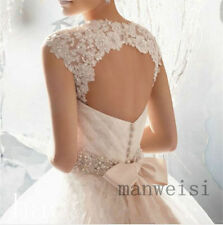 Sleeveless White/Ivory Lace Shawl Bolero Wedding Jacket Bridal Wrap Custom Size