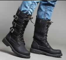 Hot Stylish Men Military Buckle Flat Lace Up PU Motorcycle Punk Mid Calf Boot
