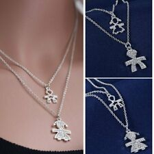 Fashion Lovely Family Silver Crystal Two-layer Boys Girls Necklace Pendant Gifts