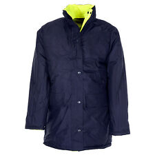 NEW MENS WATERPROOF REVERSIBLE PARKA JACKET COAT WARM HI VIZ VISIBILITY S-4XL