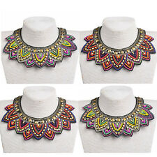 Women Pendant Chain Jewelry Bib Statement Crystal Beaded Collar Choker Necklace