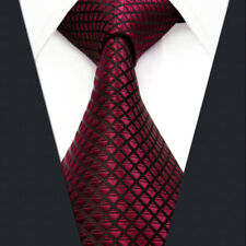 """Extra Long Size 60.6"""" 63"""" U25 Solid Color Red Mens Necktie Ties 100% Silk New"""
