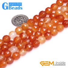 """Natural Red Carnelian Agate Gemstone Faceted Round Beads Free Shipping 15"""""""