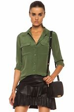 NWT $204 Equipment Slim Signature Silk Blouse Shirt in Military Green S/Small