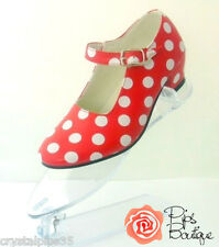 New Spanish Flamenco Dance Shoes Red & White Polka Dot - All Sizes In Stock