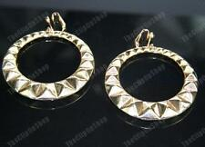 GOLD FASHION HOOP EARRINGS big chunky hoops CLIP ON/PIERCE aztec bamboo clips