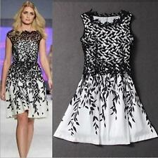Women Girl Black White Lace Sleeveless Party Evening Prom Gown Dress Plus Size