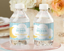 24 Personalized To The Moon And Back Water Bottle Labels Baby Shower Favors