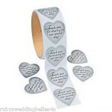 10x WEDDING GIFT SEALS - SILVER HEART - IDEAL FOR FAVOUR BAGS