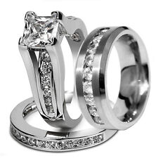 Nice Hers Sterling Silver His Stainless Steel Wedding Engagement Rings Band Set