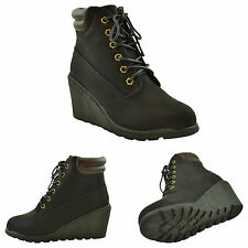 Womens Ankle Boots Lace Up Wedges Ankle Padded Booties black