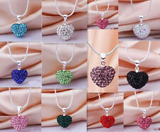 Women's Rhinestone Crystal Heart 925 Silver Chain Pendant Necklace Wholesale