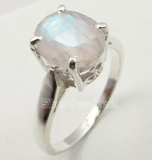 925 Stamped Solid Silver RAINBOW MOONSTONE INEXPENSIVE Cast Ring Any Size UNISEX