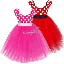 Flower Girl Minnie Mouse Birthday Party Wedding Bridesmaid Formal  Dress Costume