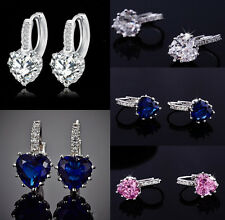 1 Pair Woman White Gold Plated Crystal Love Heart Leverback Earrings Ear Studs